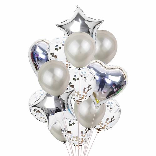набор шары серебро