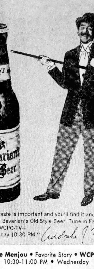 Adolphe Menjou, Favorite Story on WCPO-TV, Sponsored by Bavarian's Beer, Bavarian Brewing Co., Covington, KY
