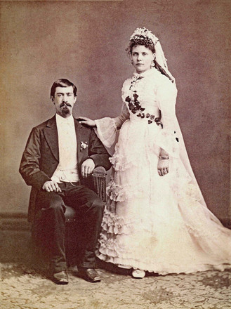 Marriage picture of William Riedlin, Sr., and Emma Hoffman Riedlin, August 6, 1877.