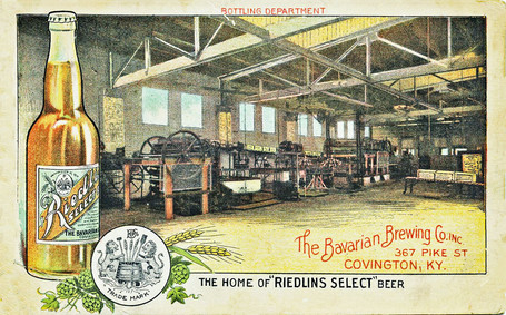 Riedlin Select Beer Postcard of the Bottling Plant Interior, Bavarian Brewing Co., Covington, KY - Reverse Side.