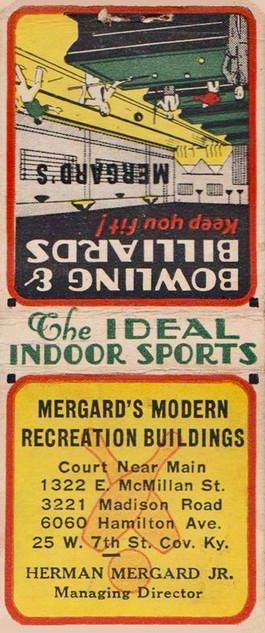 Mergards Bowling & Billiards Match Cover, Cincinnati, OH & Covington, KY