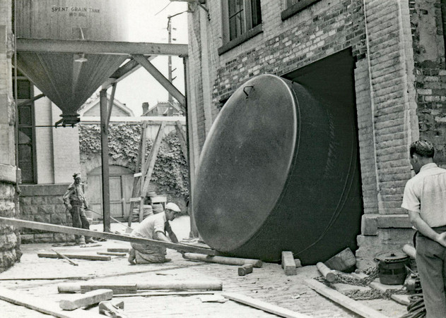 Spent Grain Tank and Storage Tank Installation at the Bottling Dept., Bavarian Brewing Co., Covington, KY.