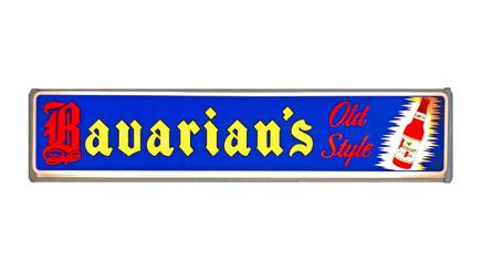 Bavarian's Old Style Beer Blue Background with Bottle Backlit Sign, Bavarian Brewing Co., Covington, KY.