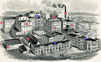 Lithograph of the Bavarian Brewery, Covington, KY  c 1912.