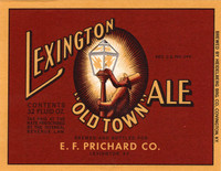 Lexington Old Town Ale Label. Brewed for E.F. Prichard Co. by Heidelberg Brewing Co., Covington, KY.