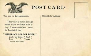 Riedlin Select Beer Postcard of the Bottling Plant, Bavarian Brewing Co., Covington, KY - Reverse Side.