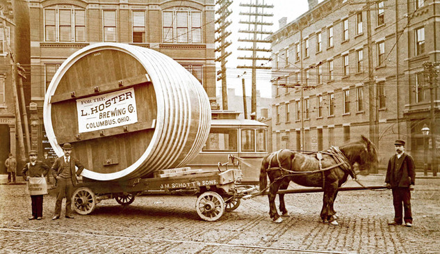 1896 JM Schott Cooperage Barrel on Wagon