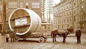1896 JM Schott Cooperage Barrel on Wagon