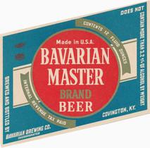 Bavarian Master Brand Beer Ohio Label: 12 oz, 3.2 pct c. 1942-1946.