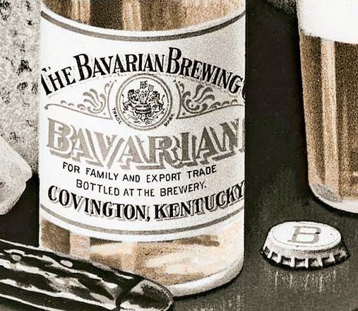 Bavarian Beer Pre-Prohibition Label and Crown (Bottle Cap), Covington, KY c. 1910