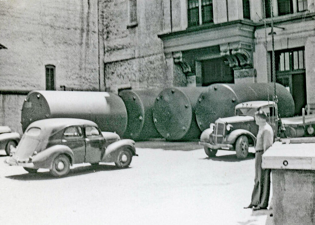 Four Storage Tanks at the Brew House, Bavarian Brewing Co., Covington, KY.