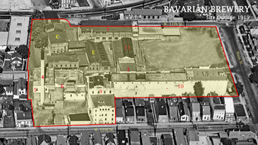 Bavarian Brewery, Covington, KY. Aerai View Showing the Site Outline of the brewery c. 1919.