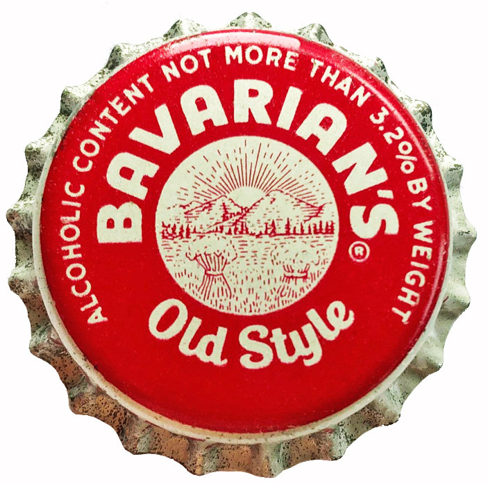 "Bavarian's Old Style OH Crown For 3.2% Beer. States ""Ohio Beer Tax Paid 1/2 Cent"" printed on side."