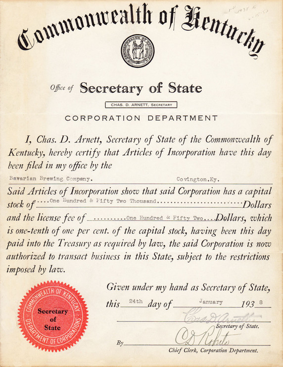 CERTIFICATE OF ARTICLES OF INCORPORATION for Bavarian Brewing Co., Covington, KY.