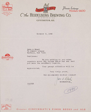 Letter from Joseph Ruh. Heidelberg Brewing Co., Covington, KY.