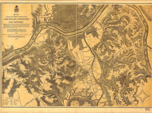 Map Showing the Military Defences of Cincinnati, Covington and Newport.