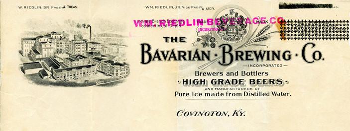 Wm. Riedlin Beverage Co. (Stamped over Bavarain Brewing Co.)