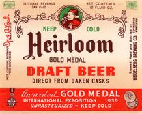 Heirloom Draft Beer Label.  Heidelberg Brewing Co., Covington, KY.