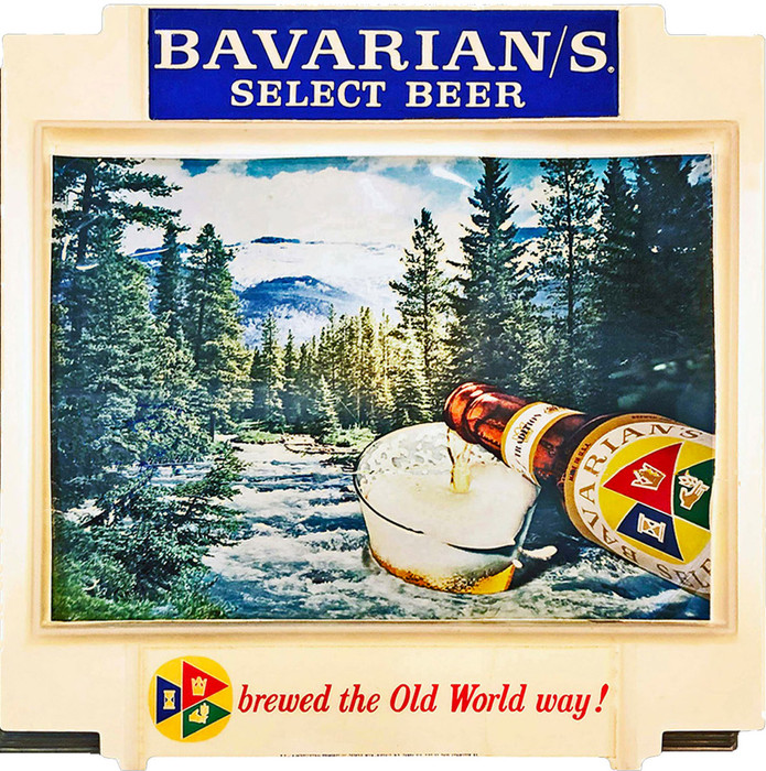 "Bavarian/s Select Outdoor Scene ""Old World"" Backlit Sign, Bavarian Brewing Co., Covington, KY."