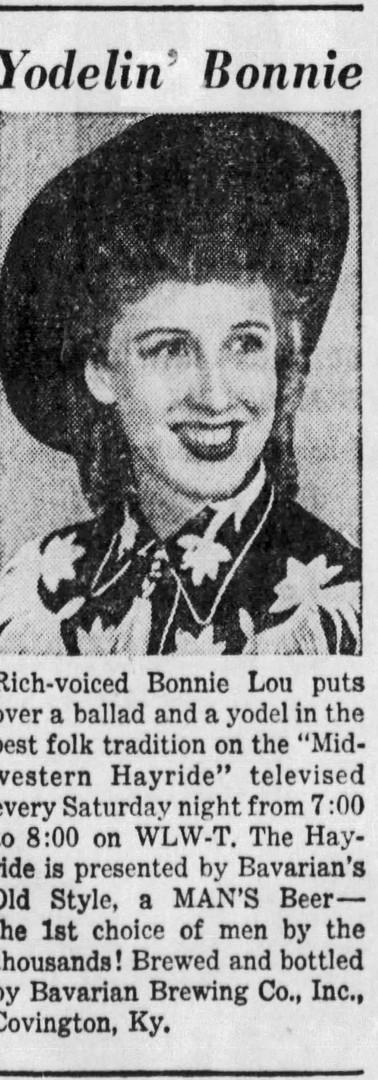 Bonnie Lou Okum on Midwestern Hayride, Sponsored by Bavarian's Beer, Bavarian Brewing Co., Covington, KY