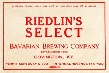 Riedlin's Select Beer IRT Label - for Ohio c. 1937.