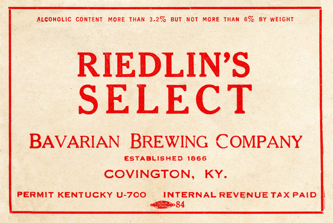 Riedlins Select Label for Ohio from the Bavarian Brewing Co., Covington, KY