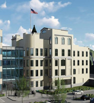 Kenton Co. Governement Center Rendering, Repurposed Bavarian Brewery Tower, Covington, KY