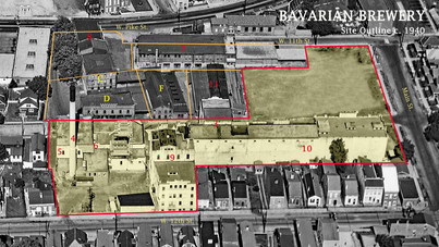 Aerial of the Bavarian Brewery Site in 1938.