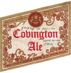 Covington Ale WWII Label, 12 oz Pavuv Notatlion, 1944.