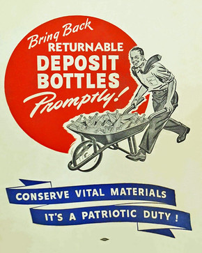World War II Bottle Recycling Poster, c. 1943.