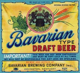 Bavarian Draft Beer Label: 1 Qt. c. 1938-1942