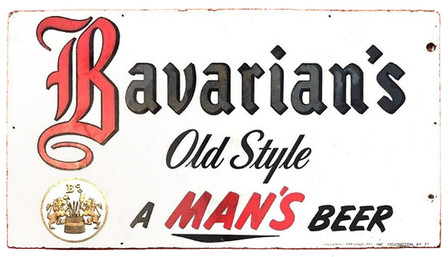 Bavarian's Old Style A Man's Beer Sign with Trademark, Covington, KY.
