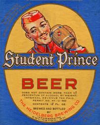 Student Prince Beer U-Permit Label. Heidelberg Brewing Co., Covington, KY.