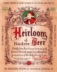 Heirloom Beer of Baden Label. Heidelberg Brewing Co., Covington, KY.