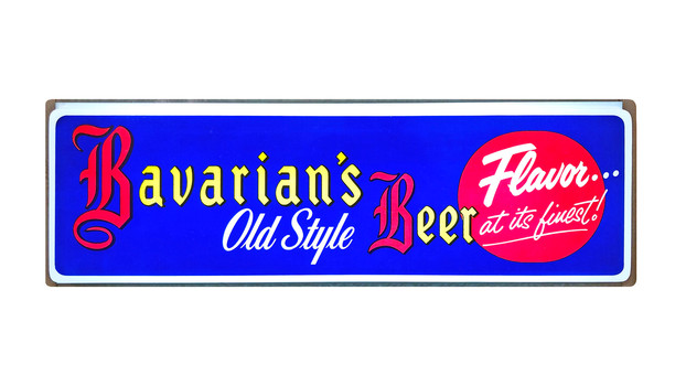 "Bavarian's Old Style Beer Blue Background with ""Flavor.."" Backlit Sign, Bavarian Brewing Co., Covington, KY."