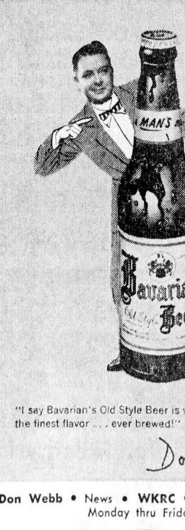 Don Webb, News on WKRC radio, Sponsored by Bavarian's Beer, Bavarian Brewing Co., Covington, KY