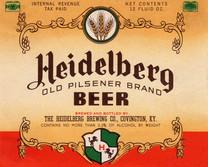 Heidelberg Pilsener Beer Label.  Heidelberg Brewing Co., Covington, KY.