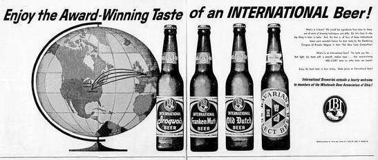 Ad for the Award Winning Tast of International Bavarian/s Beer.