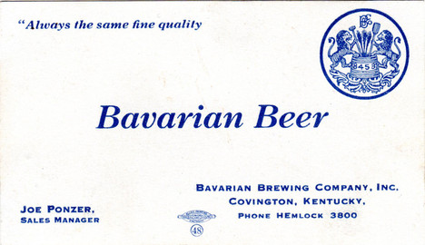 Bavarian Business Card Joe Ponze Early 1