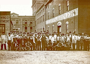 Workers at the Entrance to the Bavarian Brewing Co., Covington, KY 1899.