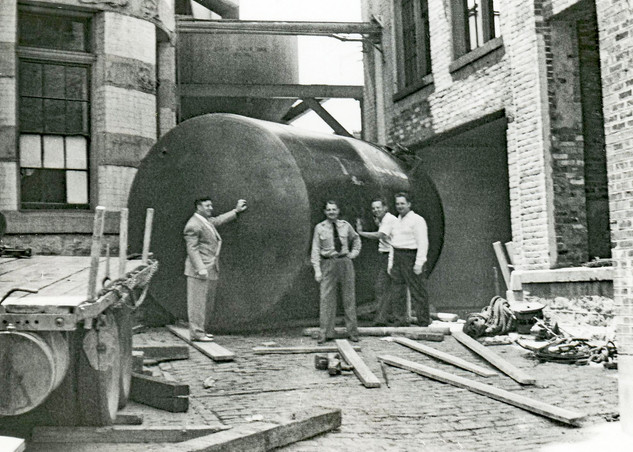 Storage Tank Between the Brew House & Bottling Dept., at the Brew House, Bavarian Brewing Co., Covington, KY.