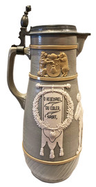 Mettlach 3 Litter Bowing Stein, No. 3025. Left Facing Side.