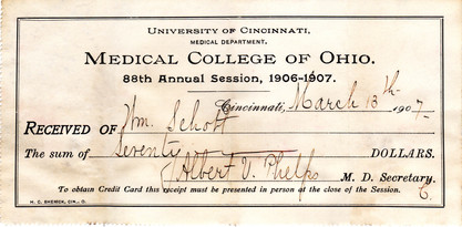 Medical College of Ohio (Univ. of Cin.) Enrollment Invoice, 1906-7.