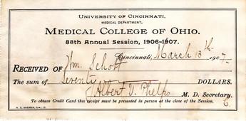 Medical College of Ohio (Univ. of Cin.) Enrollment Invoice, 1906-7.