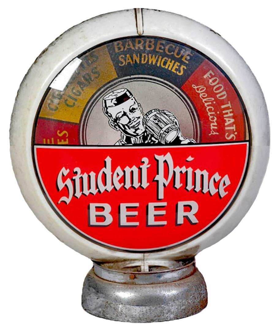 Student Prince Gas Pump Globe. Heidelberg Brewing Co., Covington, KY.