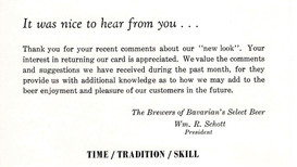 Bavarian'ss Select Beer Comment Card, Reverse Thank You Side, Covington, KY