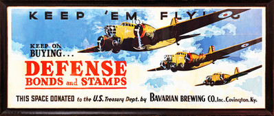 WWII Flying Trolley Poster, Bavarian Brewing Co., Covington, KY c. 1943-45.
