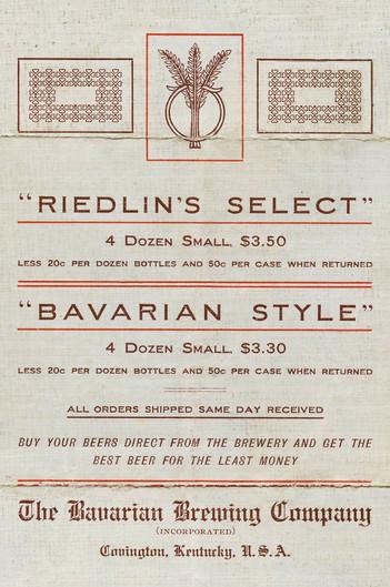 c. 1900. Bavarian Brewing Co. Brochure, Covington, KY