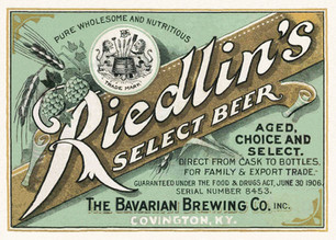 Riedlin's Select Beer Label, Bavarian Brewing Co., Covington, KY c. 1915.