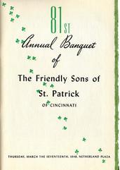 1949 Friendly Sons of St. Patricks, Cincinnati, OH Annual Banquet Program Cover 1949.